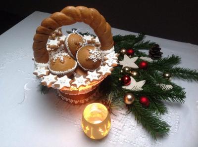 Karácsonyi mézeskalács kosárka