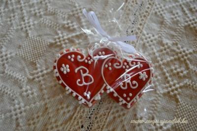 Köszönő ajándék dupla piros szív